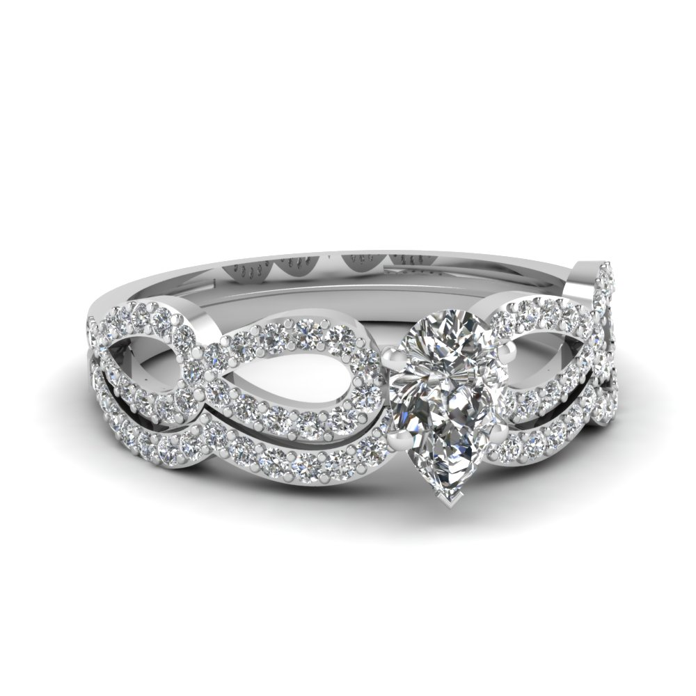 pear diamond infinity loop bridal set in FDENS3040PE NL WG 30