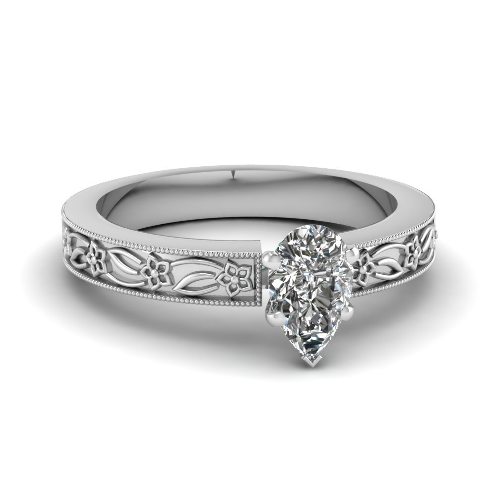 engraved flower pear shaped solitaire engagement ring in FDENS3537PER NL WG