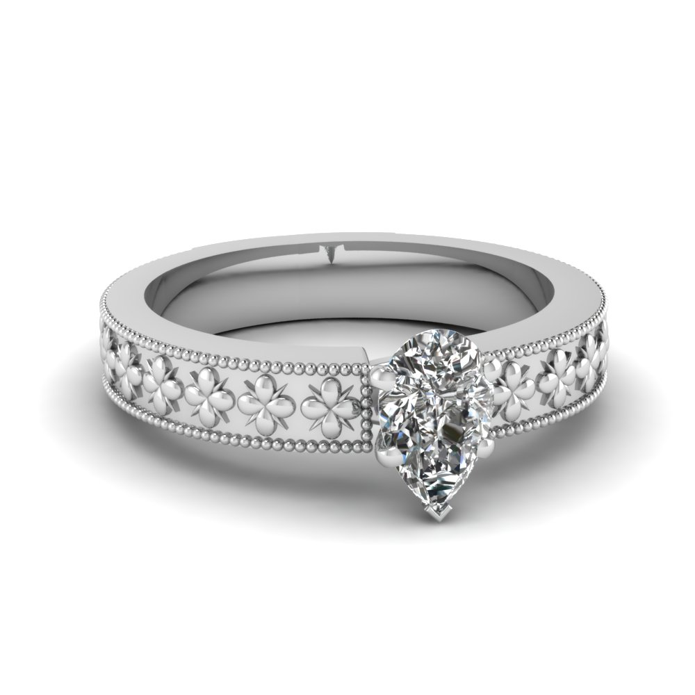 floral engraved pear shaped solitaire engagement ring in FDENS3625PER NL WG