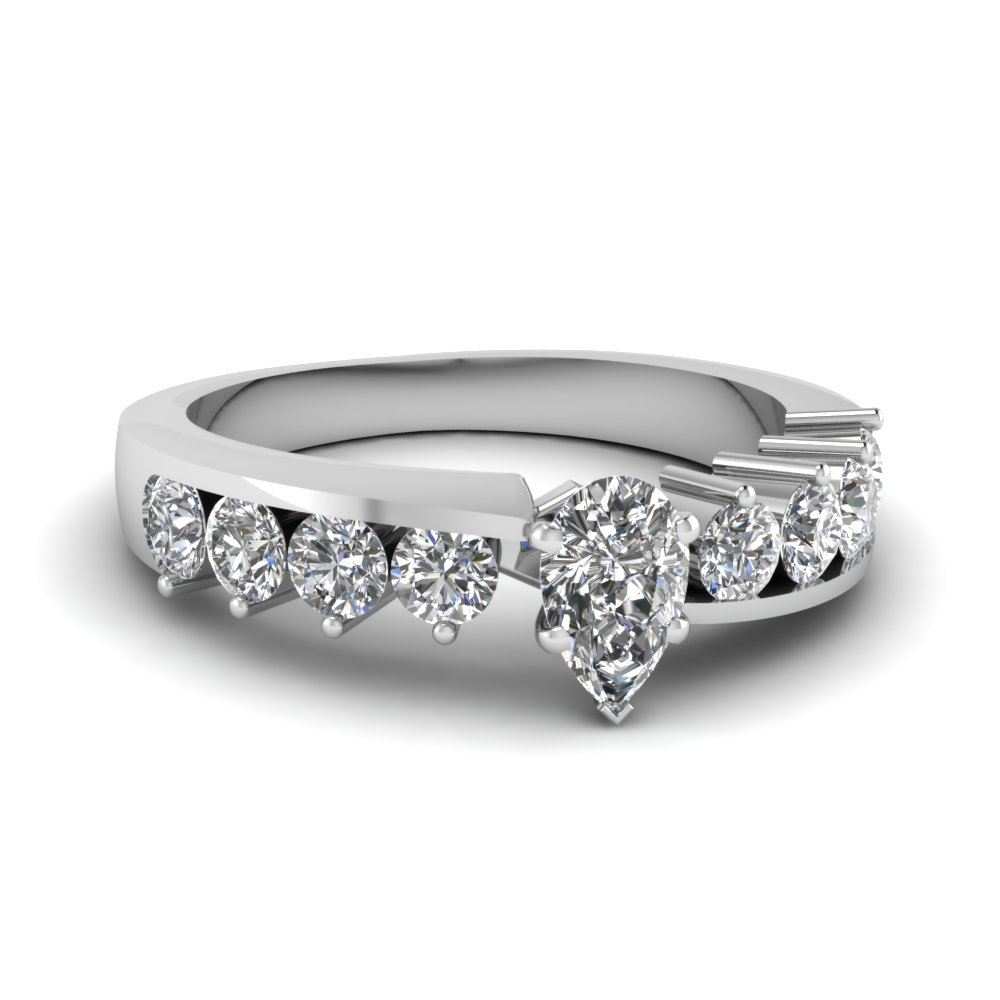 Pear Shaped Diamond 14k White Gold Petite Ring