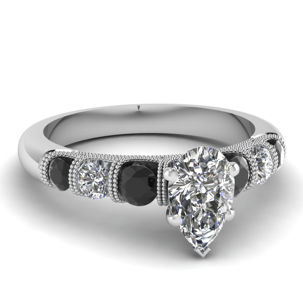 milgrain prong bar set pear engagement ring with black diamond in FDENS1783PERGBLACK NL WG