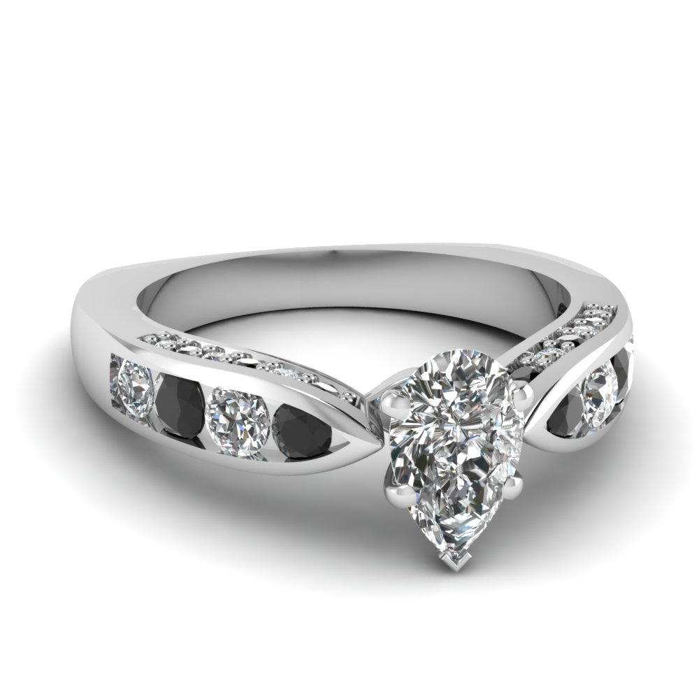 tapered pear engagement ring with black diamond in FDENR2916PERGBLACK NL WG