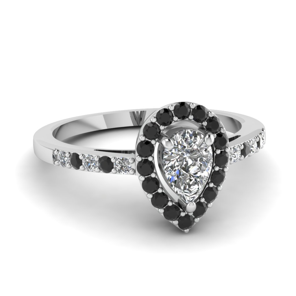 teardrop halo engagement ring with black diamond in FDENR8809PERGBLACK NL WG