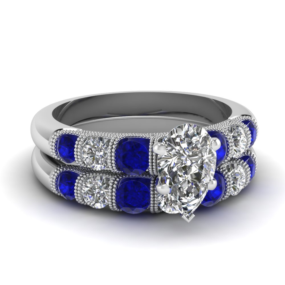 milgrain prong bar set pear diamond wedding ring set with sapphire in FDENS1783PEGSABL NL WG