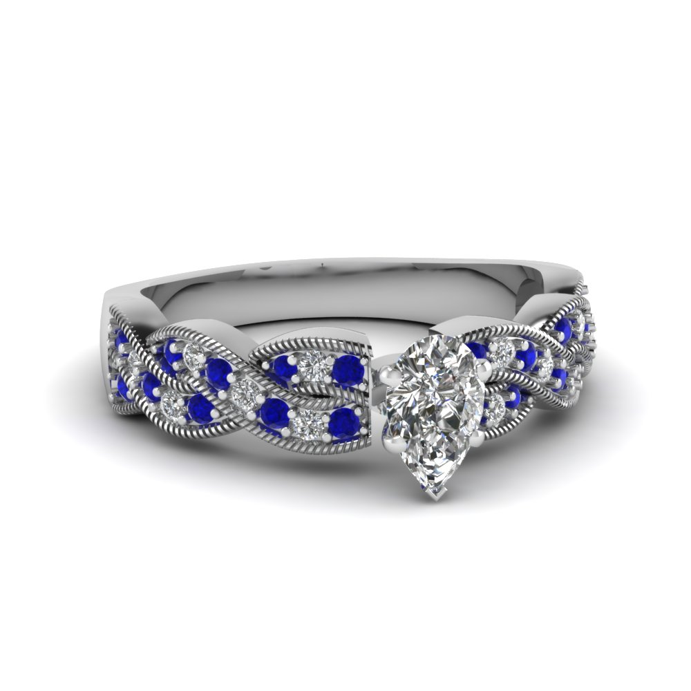 Pear Shaped Diamond Side Stone Engagement Rings With Blue Sapphire In 14k  White Gold