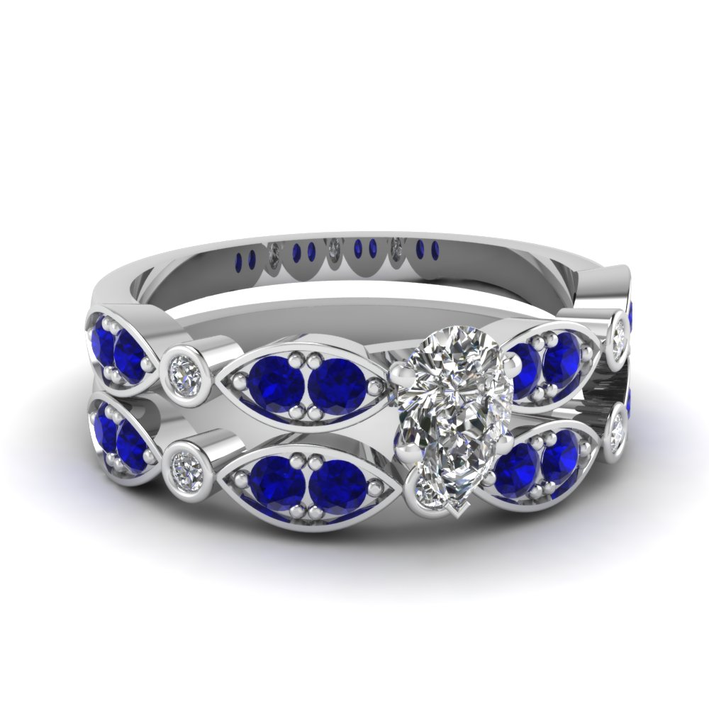 white-gold-pear-white-diamond-engagement-wedding-ring-with-blue-sapphire-in-pave-bezel-set-FDENS2035PEGSABL-NL-WG