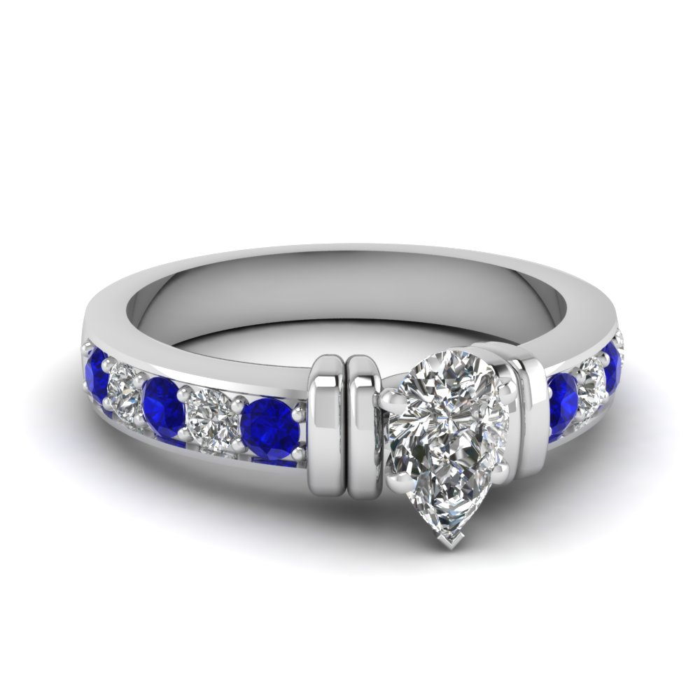 simple bar set pear diamond engagement ring with sapphire in FDENR957PERGSABL Nl WG
