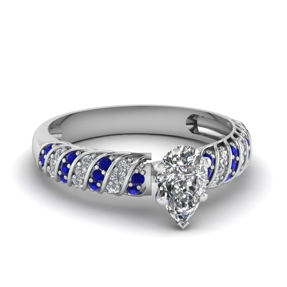 rope design pear diamond ring with sapphire in FDENS3048PERGSABL NL WG 30