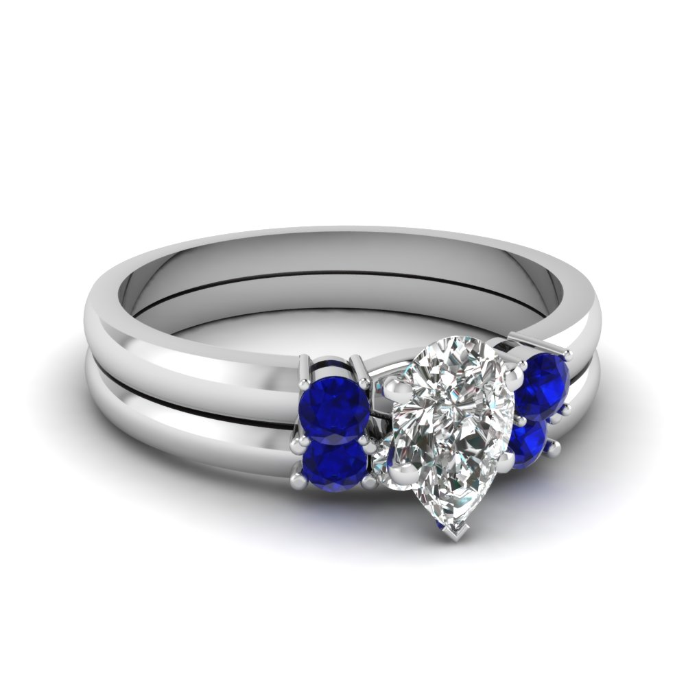 Pear Shaped Blue Sapphire Ring Set