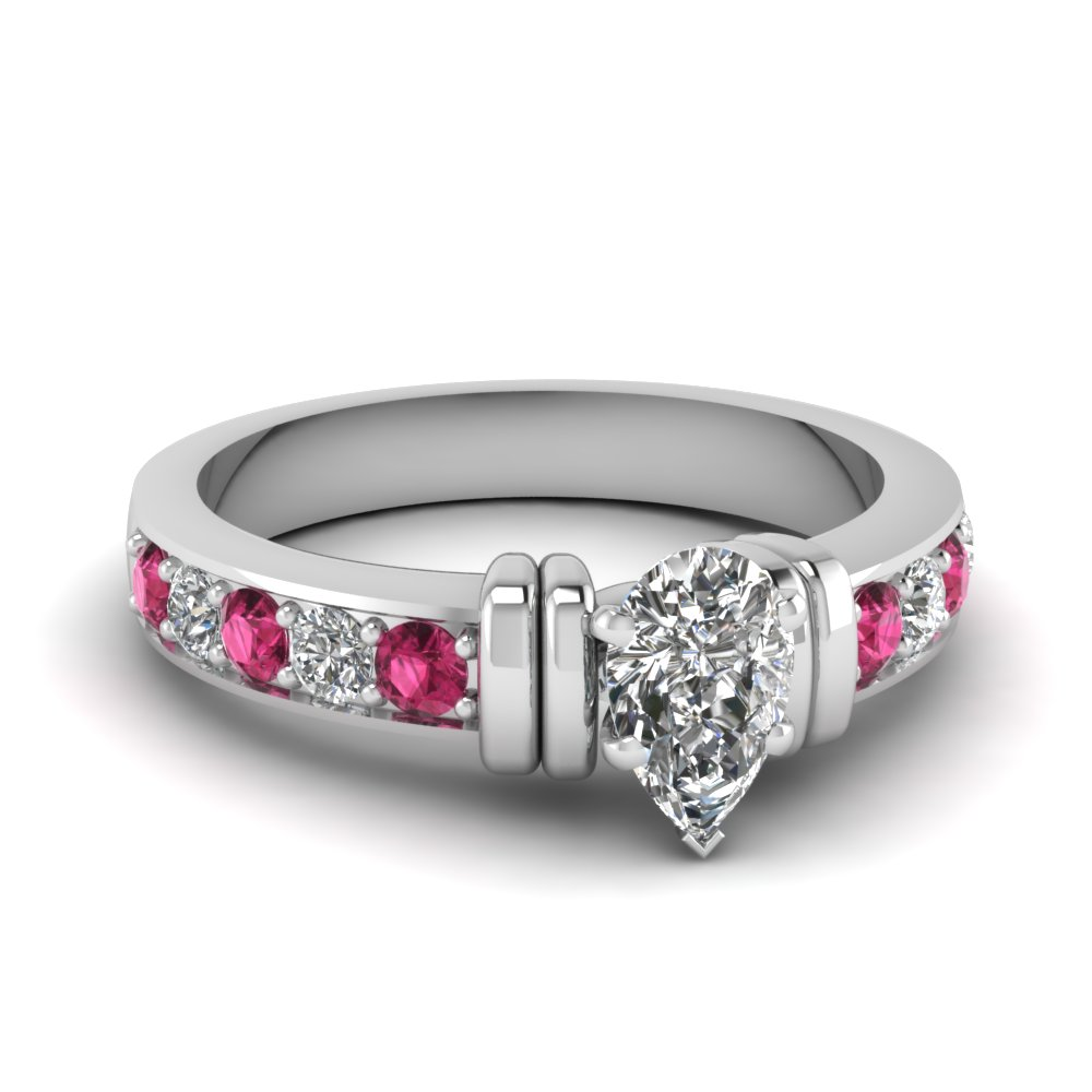 simple bar set pear moissanite engagement ring with pink sapphire in FDENR957PERGSADRPI Nl WG