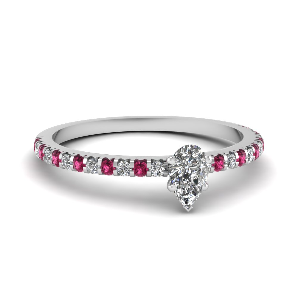 floating thin pear diamond ring with pink sapphire in FDENS3009PERGSADRPI NL WG 30
