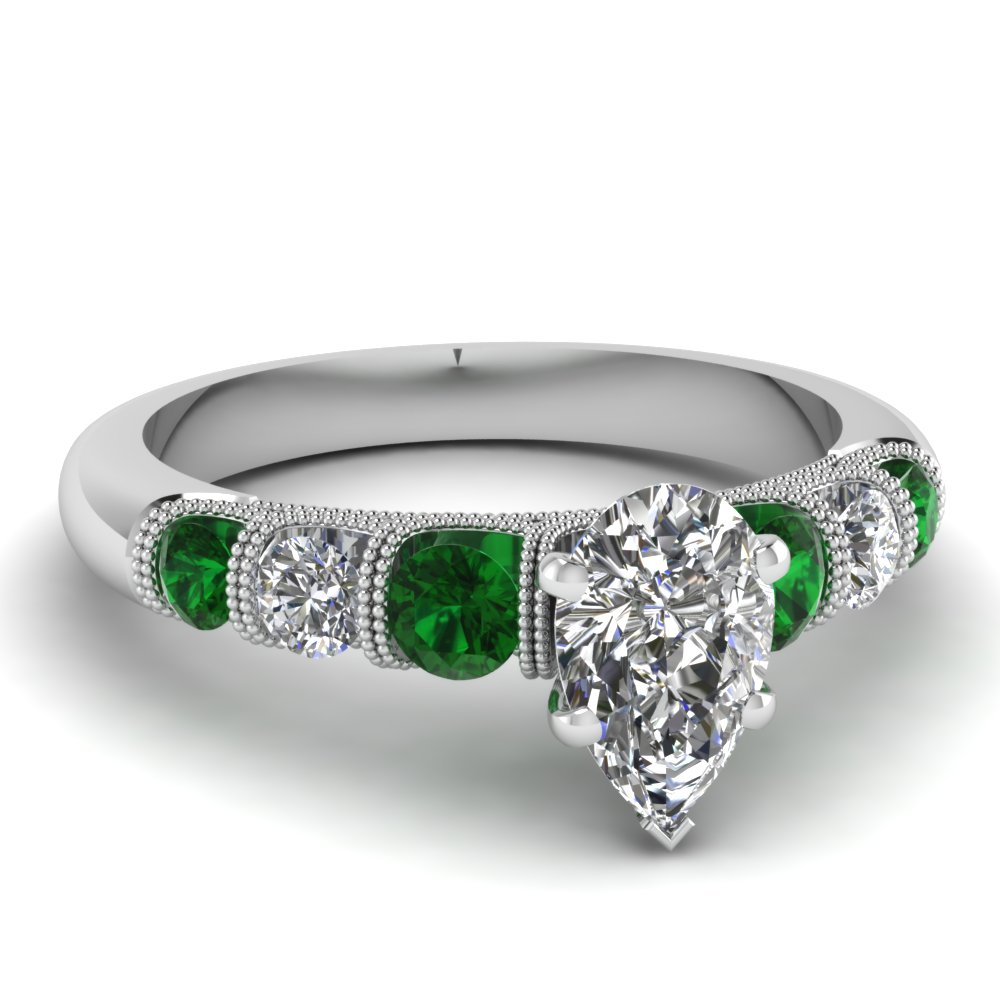 pear milgrain prong bar set diamond engagement ring with emerald in FDENS1783PERGEMGR NL WG
