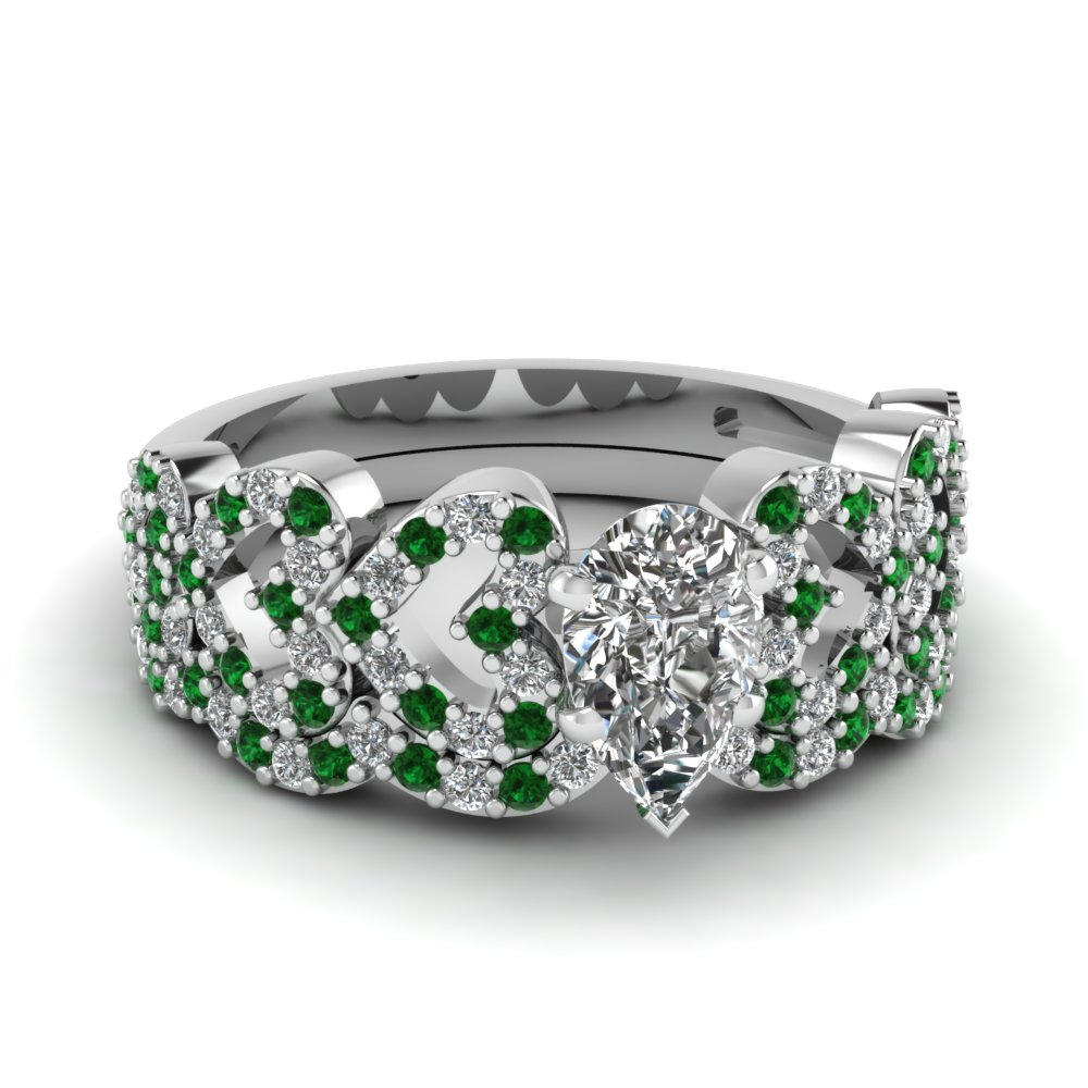 pear shaped heart design linked diamond wedding set with emerald in FDENS3051PEGEMGR NL WG.jpg