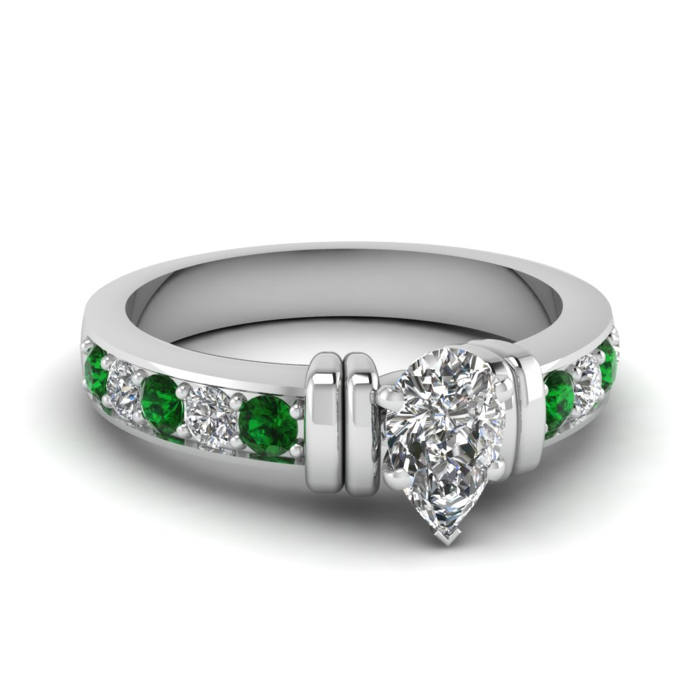 simple bar set pear diamond engagement ring with emerald in FDENR957PERGEMGR Nl WG