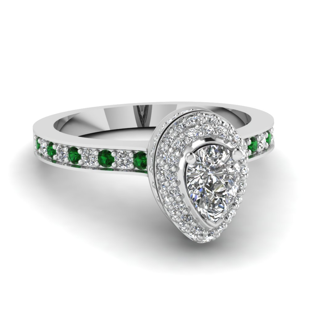 Pear Halo Ring with Green Emeralds