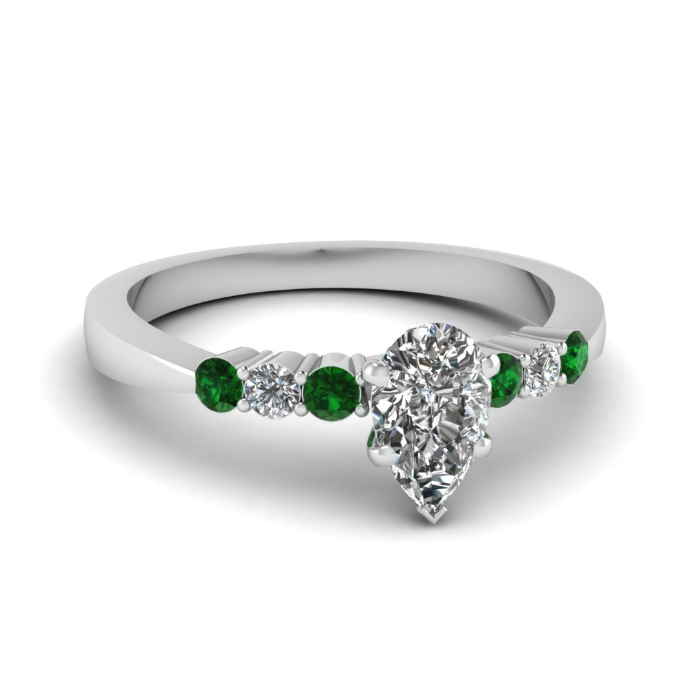 nl green wg engagement emerald shaped with tapered wedding pear in jewelry side white ring shared prong diamond gold set rings stone