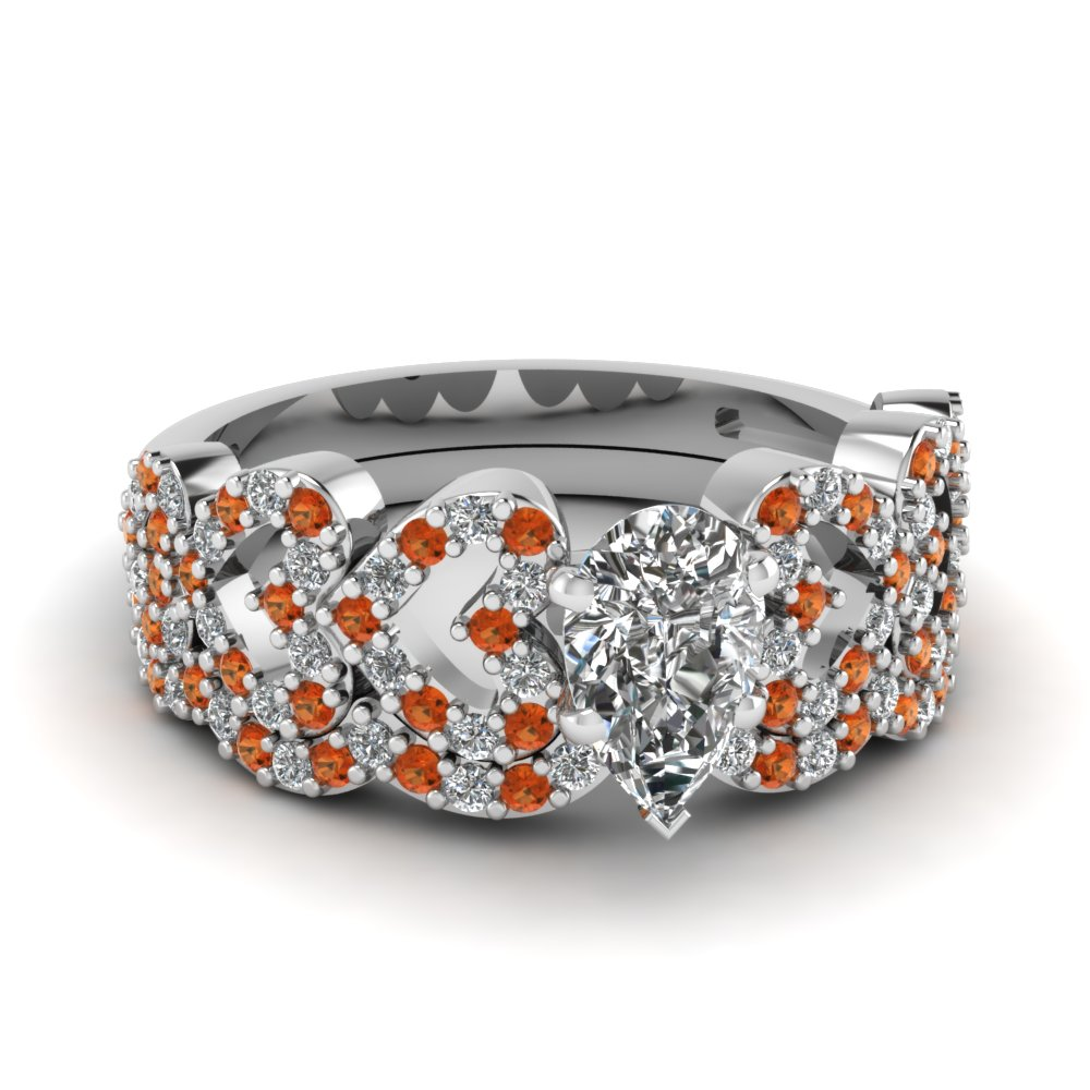 pear shaped heart design linked diamond wedding set with orange sapphire in FDENS3051PEGSAOR NL WG.jpg
