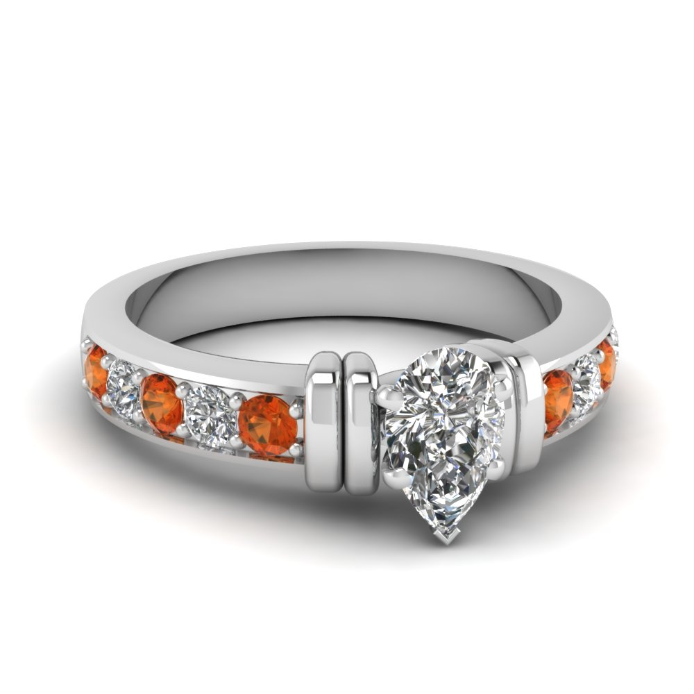 simple bar set pear diamond engagement ring with orange sapphire in FDENR957PERGSAOR Nl WG
