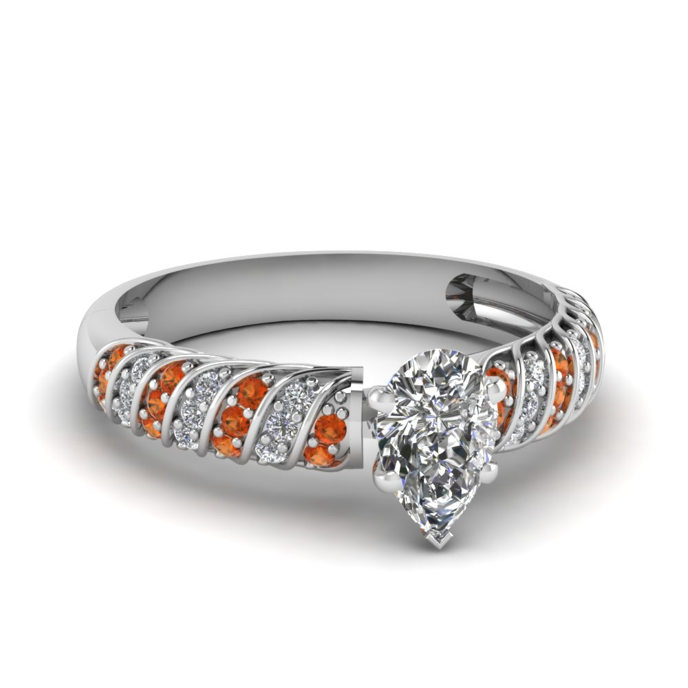 Pear Shaped Diamond Side Stone Rings