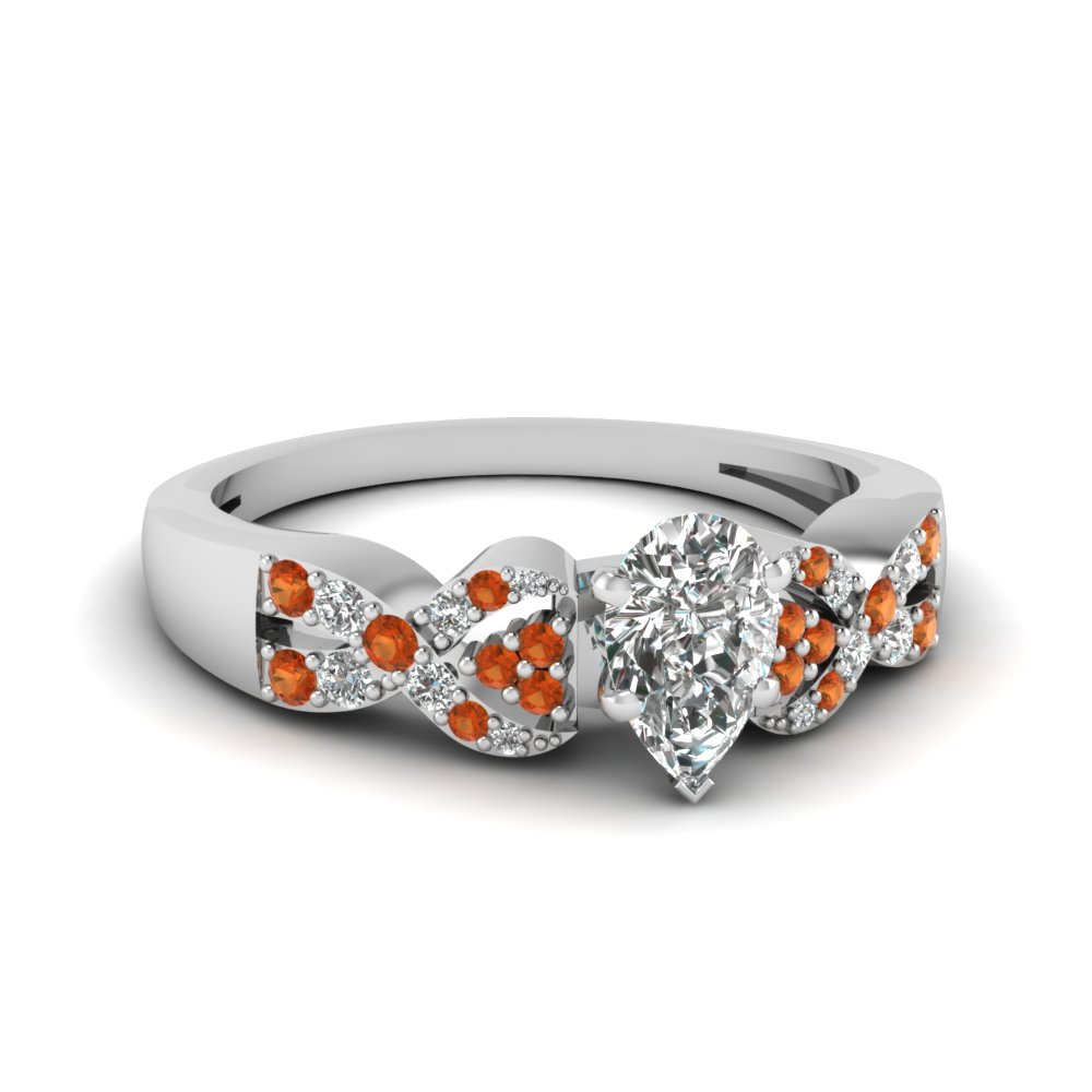 intertwined pear shaped diamond engagement ring with orange sapphire in FDENS3008PERGSAOR NL WG 30