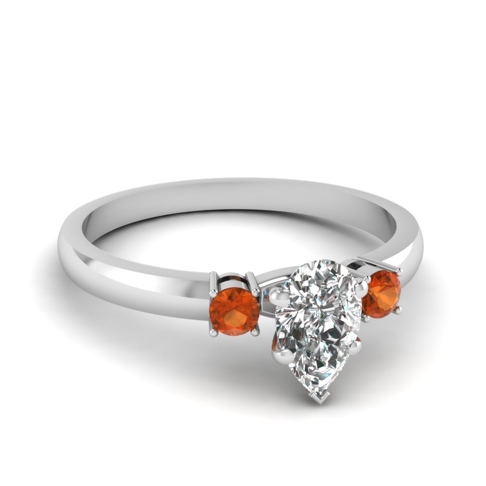 basket prong pear diamond 3 stone ring with orange sapphire in FDENS3106PERGSAOR NL WG