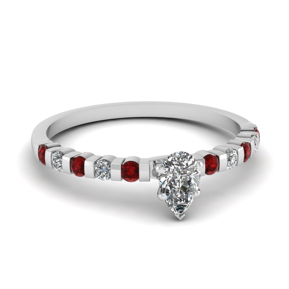 Pear Diamond And Ruby Engagement Ring For Women
