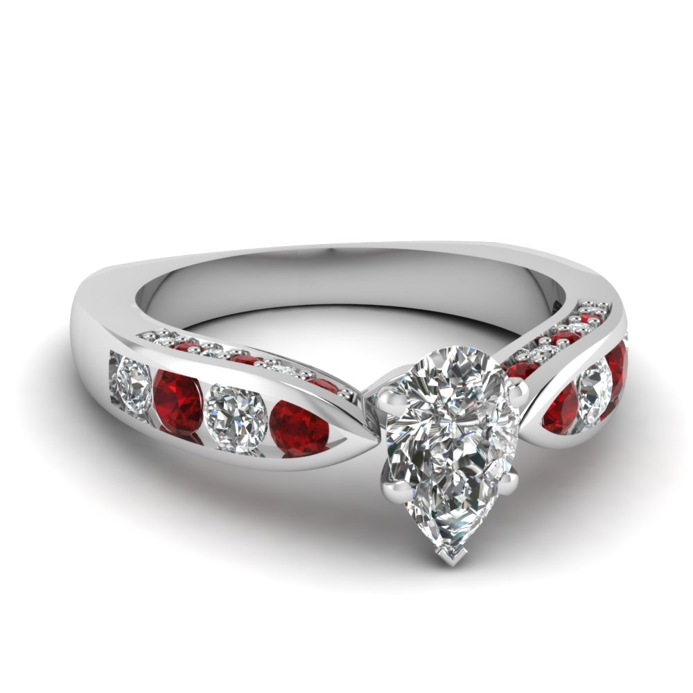 Channel Set Ruby Side Stone Ring