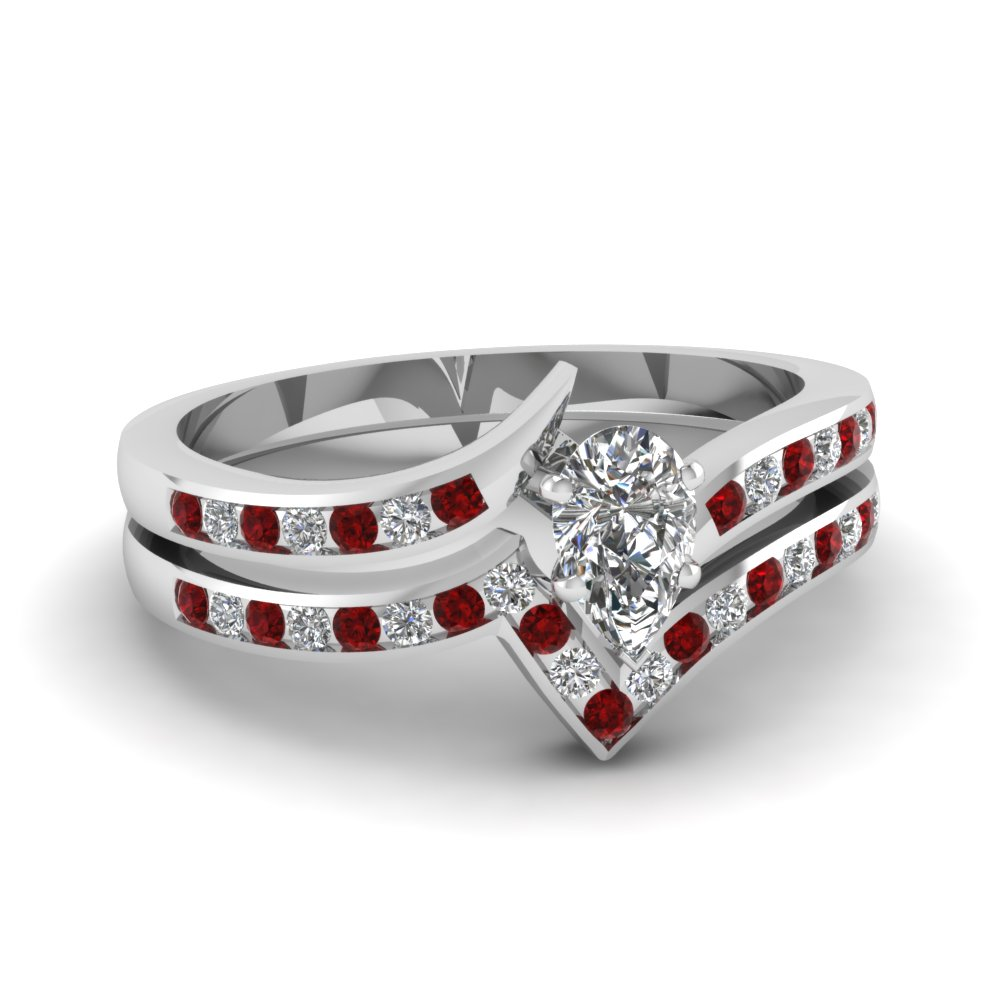 twist channel pear diamond wedding set with ruby in FDENS3094PEGRUDR NL WG 30