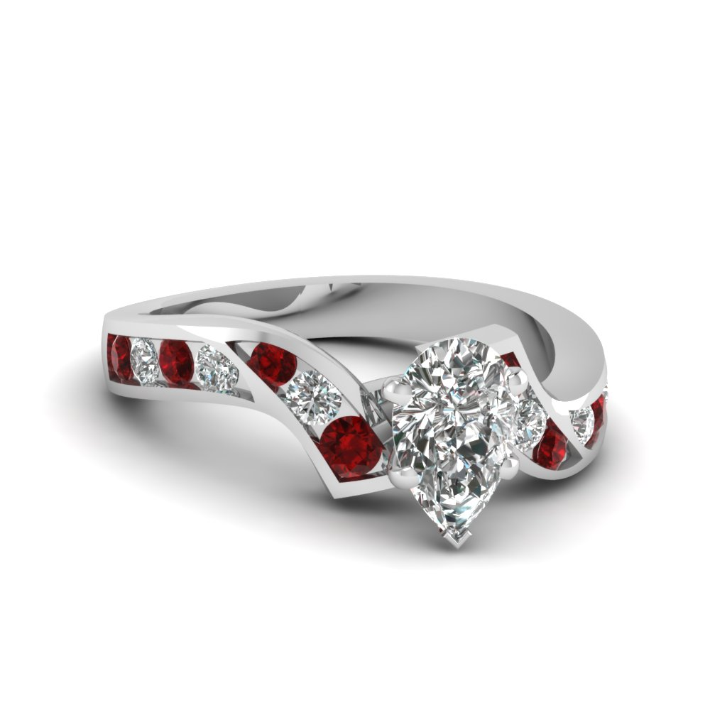 pear shaped diamond channel twisted engagement ring with ruby in FDENS510PERGRUDR NL WG