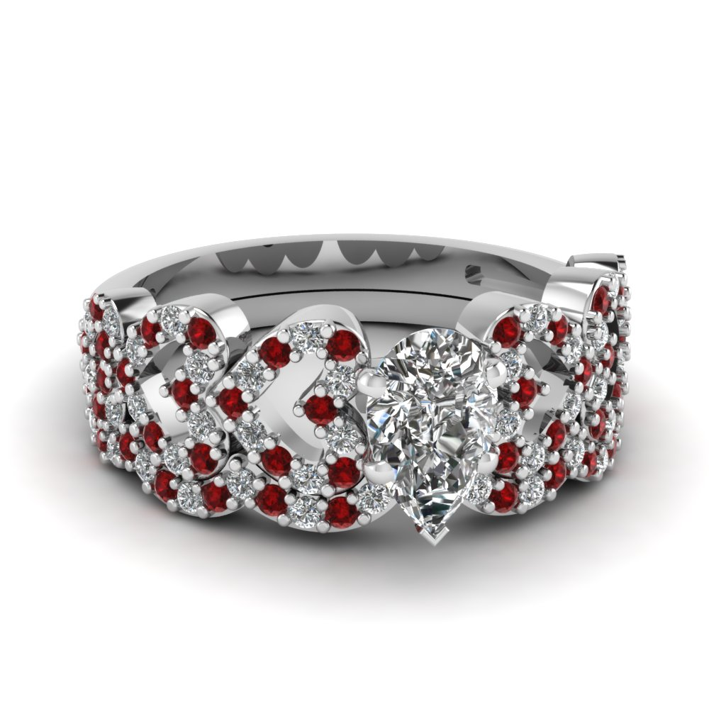 pear shaped heart design linked diamond wedding set with ruby in FDENS3051PEGRUDR NL WG.jpg