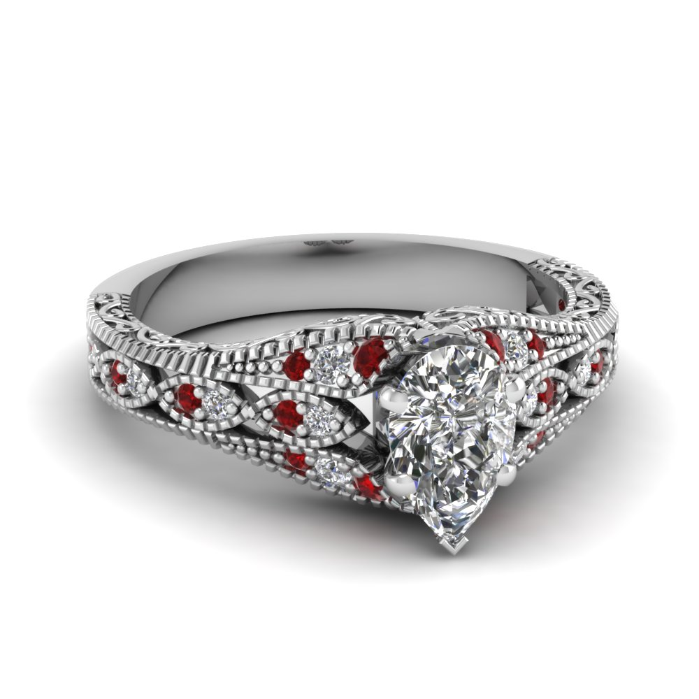 ruby antique filigree pear shaped diamond ring in FD1066PERGRUDR NL WG.jpg