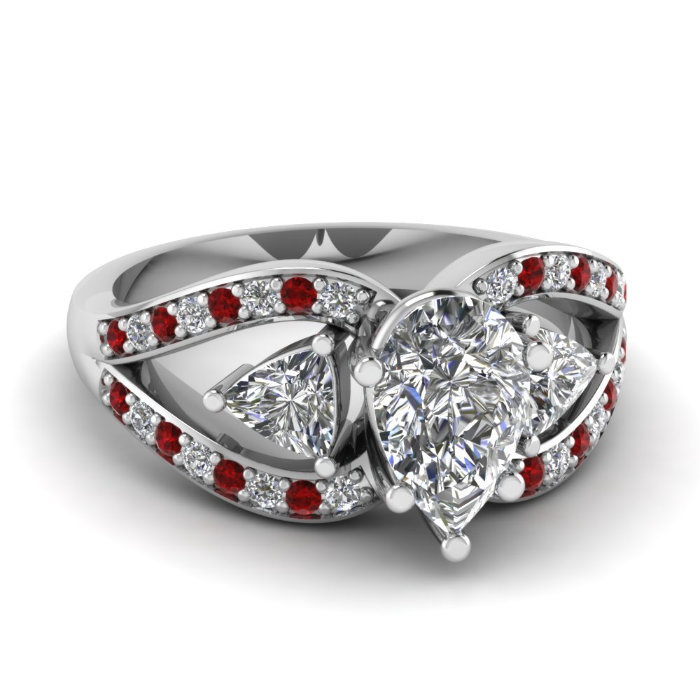 trillion butterfly pear diamond engagement ring with ruby in FD71589PERGRUDR NL WG