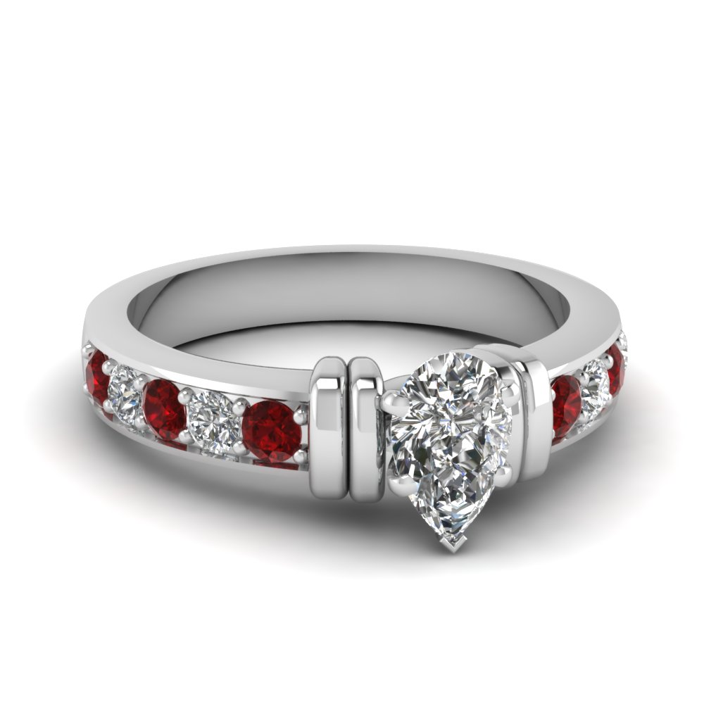 simple bar set pear diamond engagement ring with ruby in FDENR957PERGRUDR Nl WG