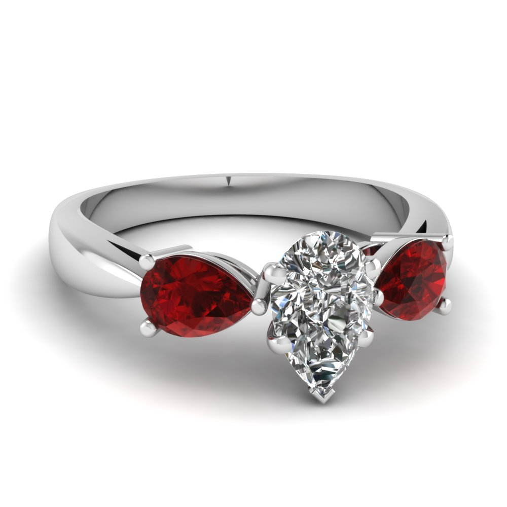 tear drop 3 stone pear shaped moissanite engagement ring with ruby in FDENR1829PERGRUDR NL WG