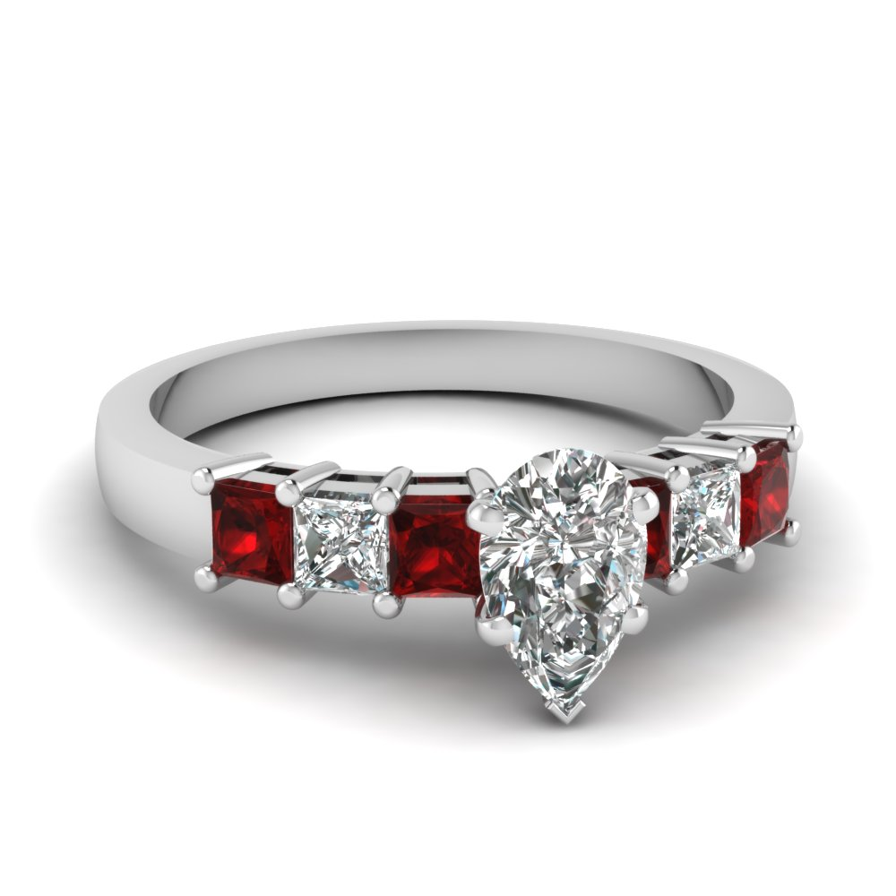 7 stone pear diamond engagement ring with ruby in FDENS1027PERGRUDR NL WG