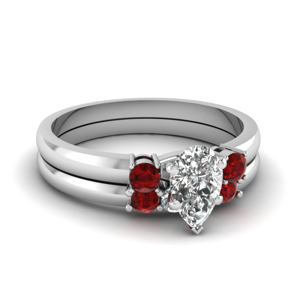 pear diamond 3 stone wedding set with ruby in FDENS3106PEGRUDR NL WG