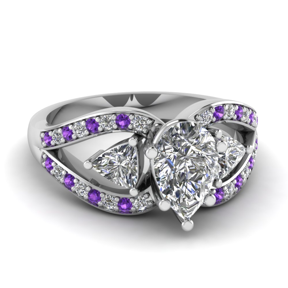 trillion butterfly pear diamond engagement ring with purple topaz in FD71589PERGVITO NL WG