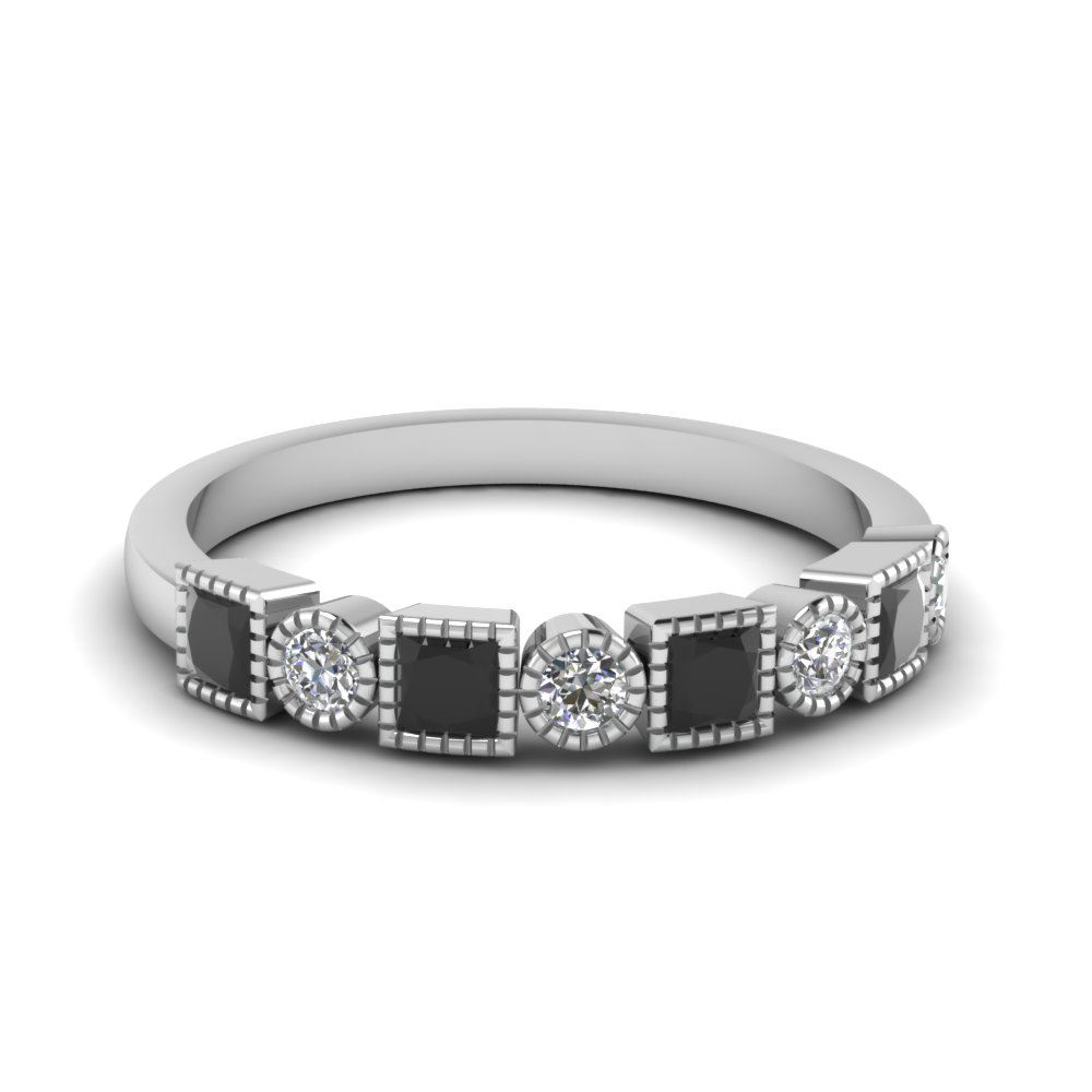 black diamond stackable wedding bands - Black Diamond Wedding Rings For Women