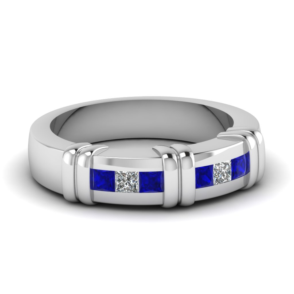 White Gold Princess Blue Sapphire Mens Wedding Ring