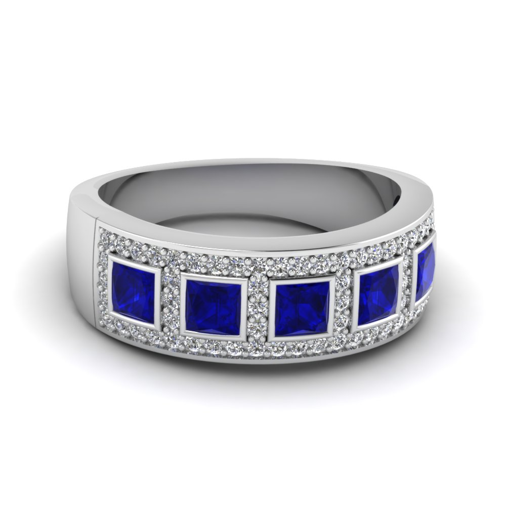 White Gold Princess Blue Sapphire Wedding Band With White Diamond In