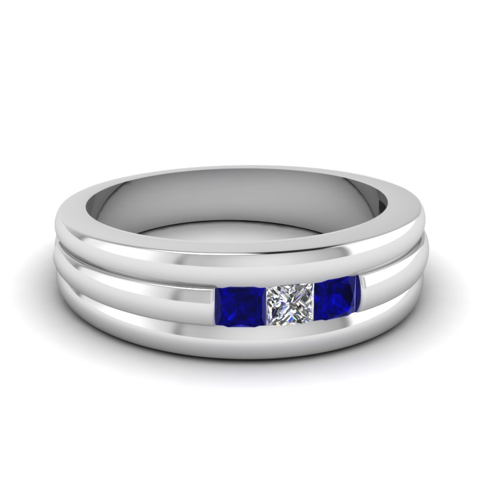 mens 3 stone wedding band with sapphire in FD12559BGSABL NL WG