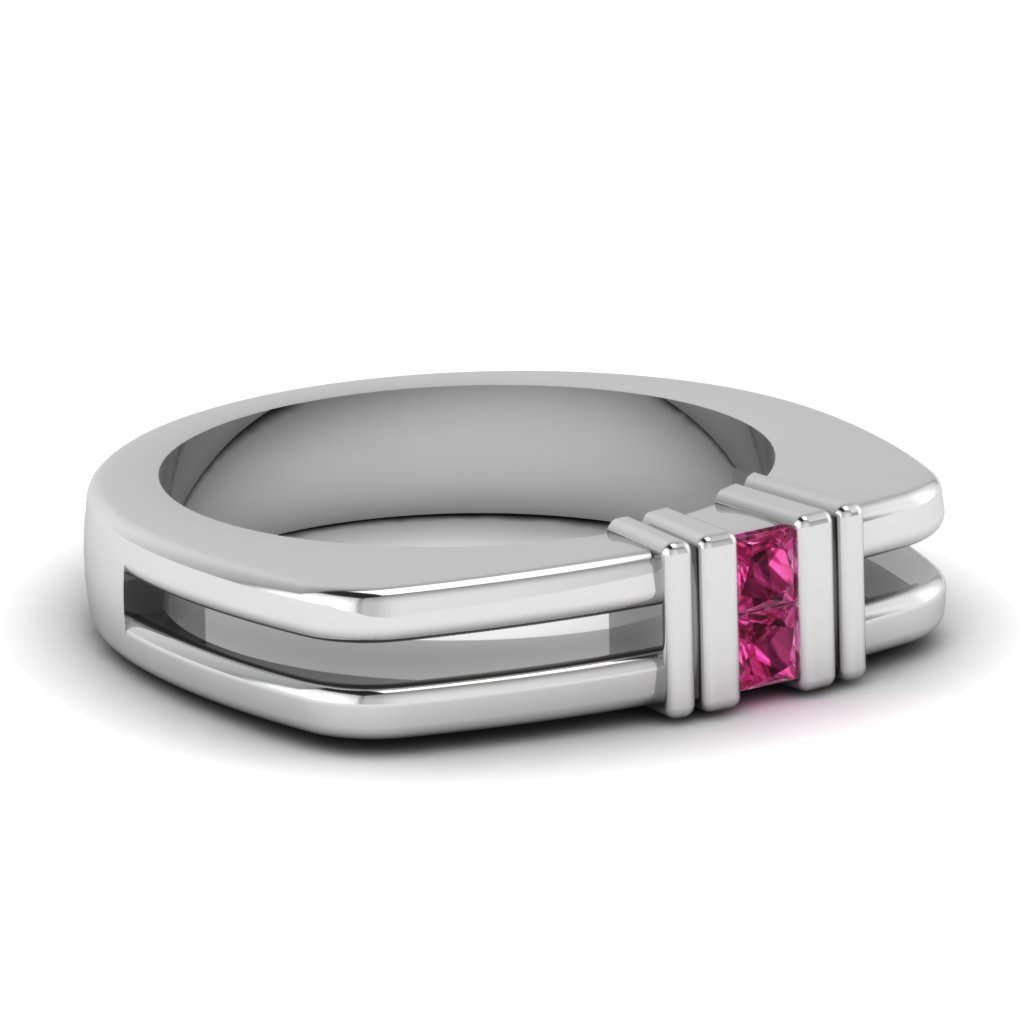White Gold Pink Sapphire Mens Wedding Ring