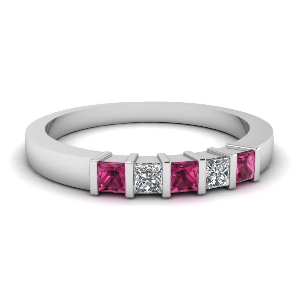 Womens Wedding Bands With Pink Sapphires
