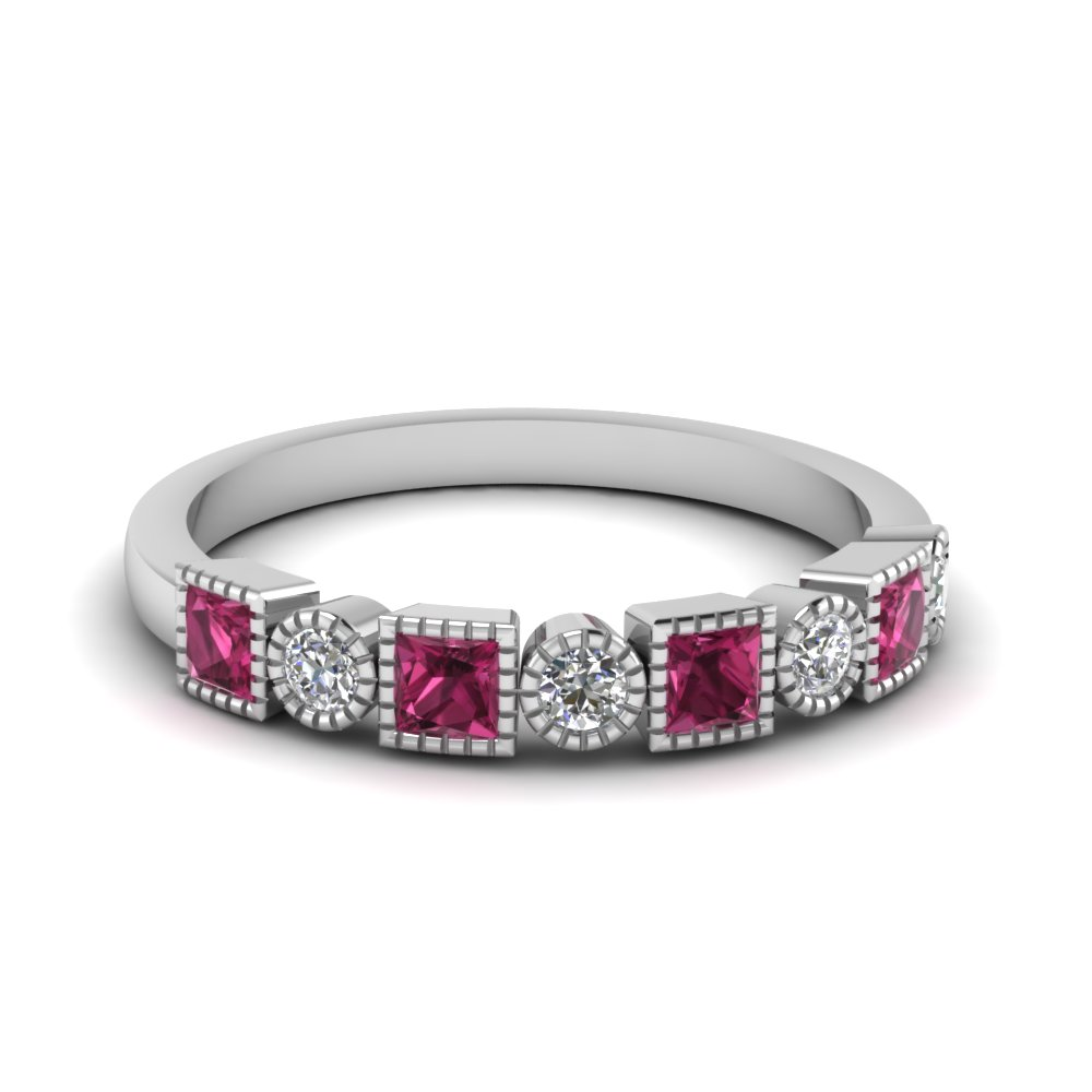 Pink Sapphire Stackable Band