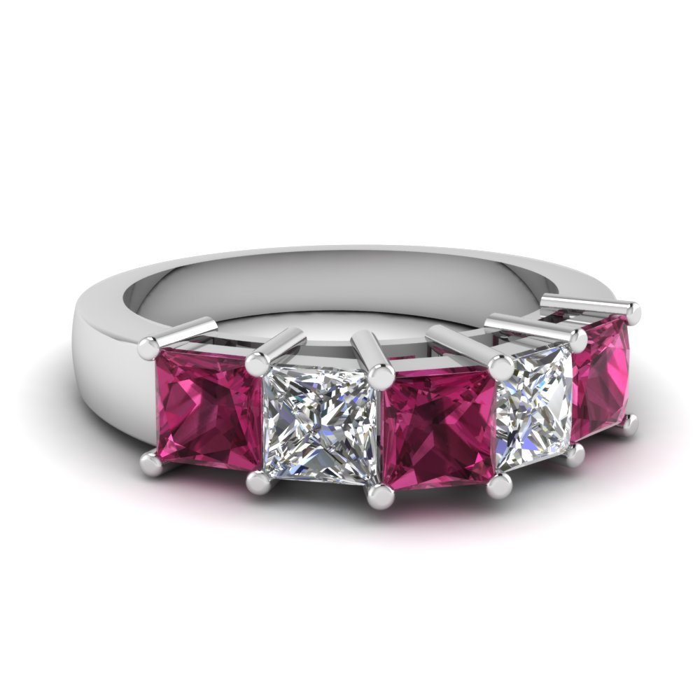 princess cut 5 stone wedding anniversary band with pink sapphire in FD121358BGSADRPI NL WG