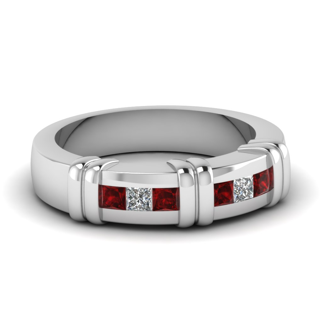 White Gold Princess Red Ruby Mens Wedding Ring