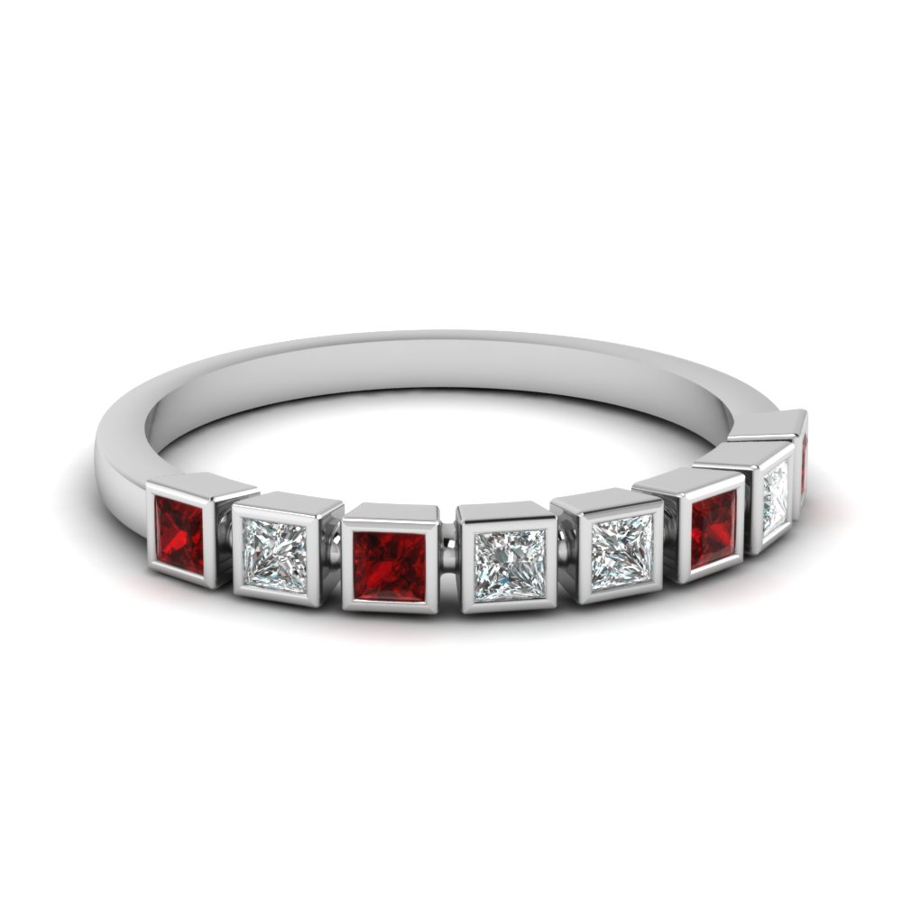 Bezel Ruby Wedding Band