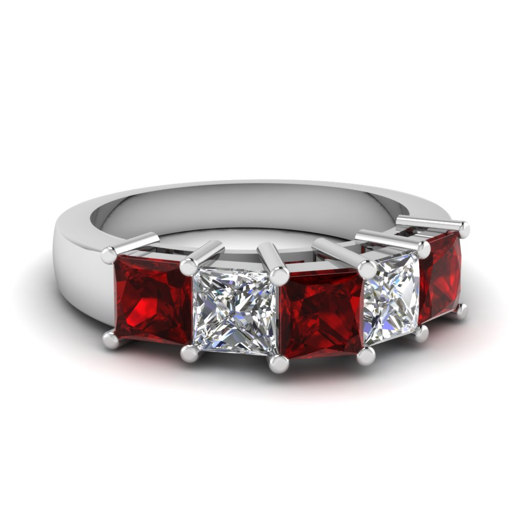 princess cut 5 stone wedding anniversary band with ruby in FD121358BGRUDR NL WG
