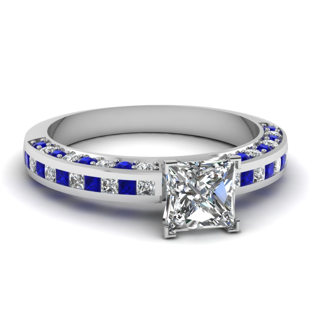 Channel Pave Princess Cut Matching Ring