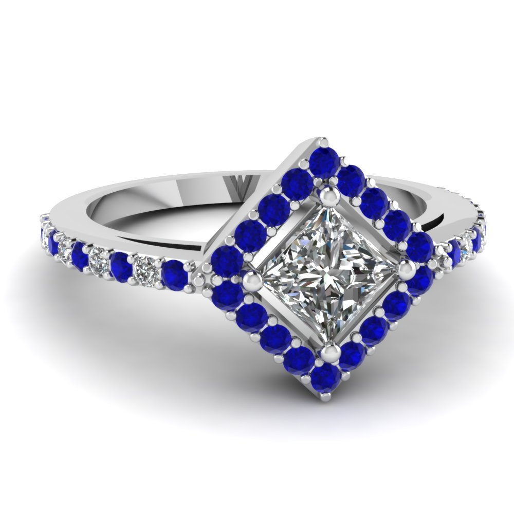Beautiful Halo Sapphire Ring White Gold